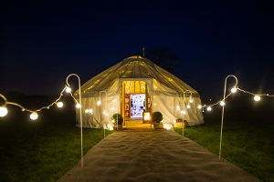 Yorkshire-Yurts_Combination-Nightime-Yurt-Festoon-Walkway
