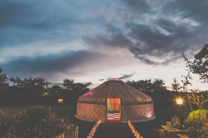 Yorkshire-yurts-25ft-Yurt-Nighttime